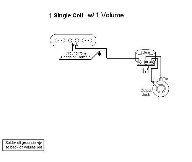 verkabelung für 1 single coil + 1 Volume | Musiker-Board