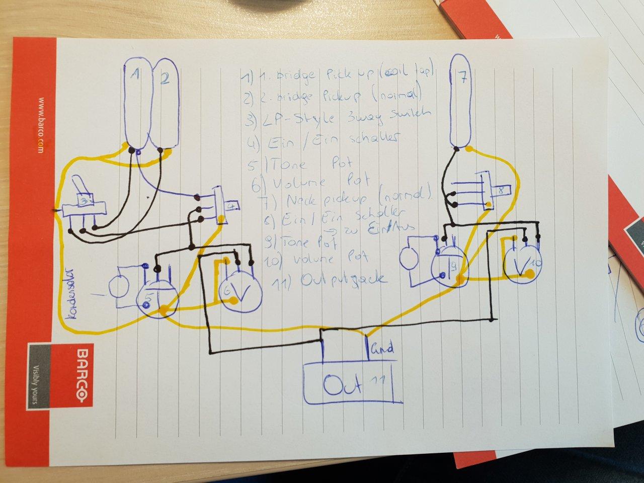 Umbau Gitarre (2 Single-Coil) auf Bridge HB-Split (2 x SC) plus Neck ...