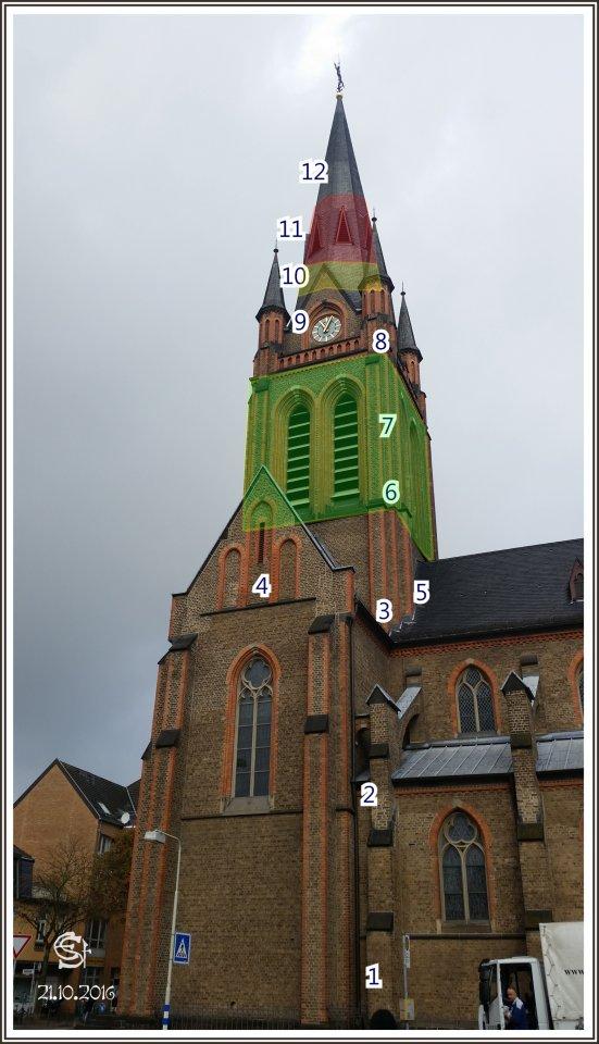 20161021_110506 Rsig Kirchturm Nummern Glockenstuben St Josef Bonn-Beuel.jpg