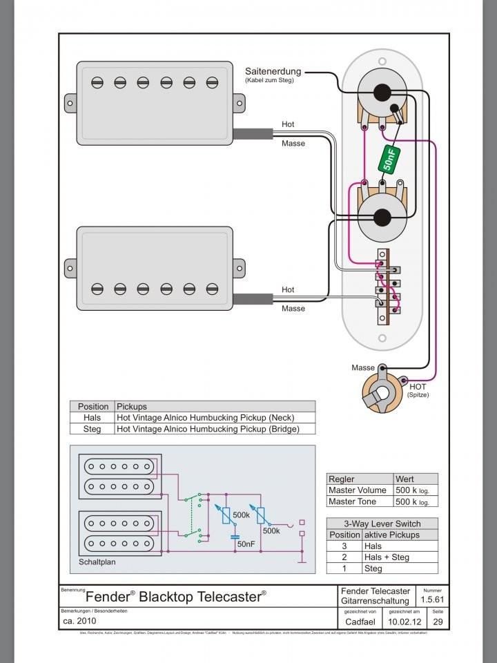 Tele mit 2 Humbuckern, 3 way switch: Schaltung möglich? sinnvoll ...