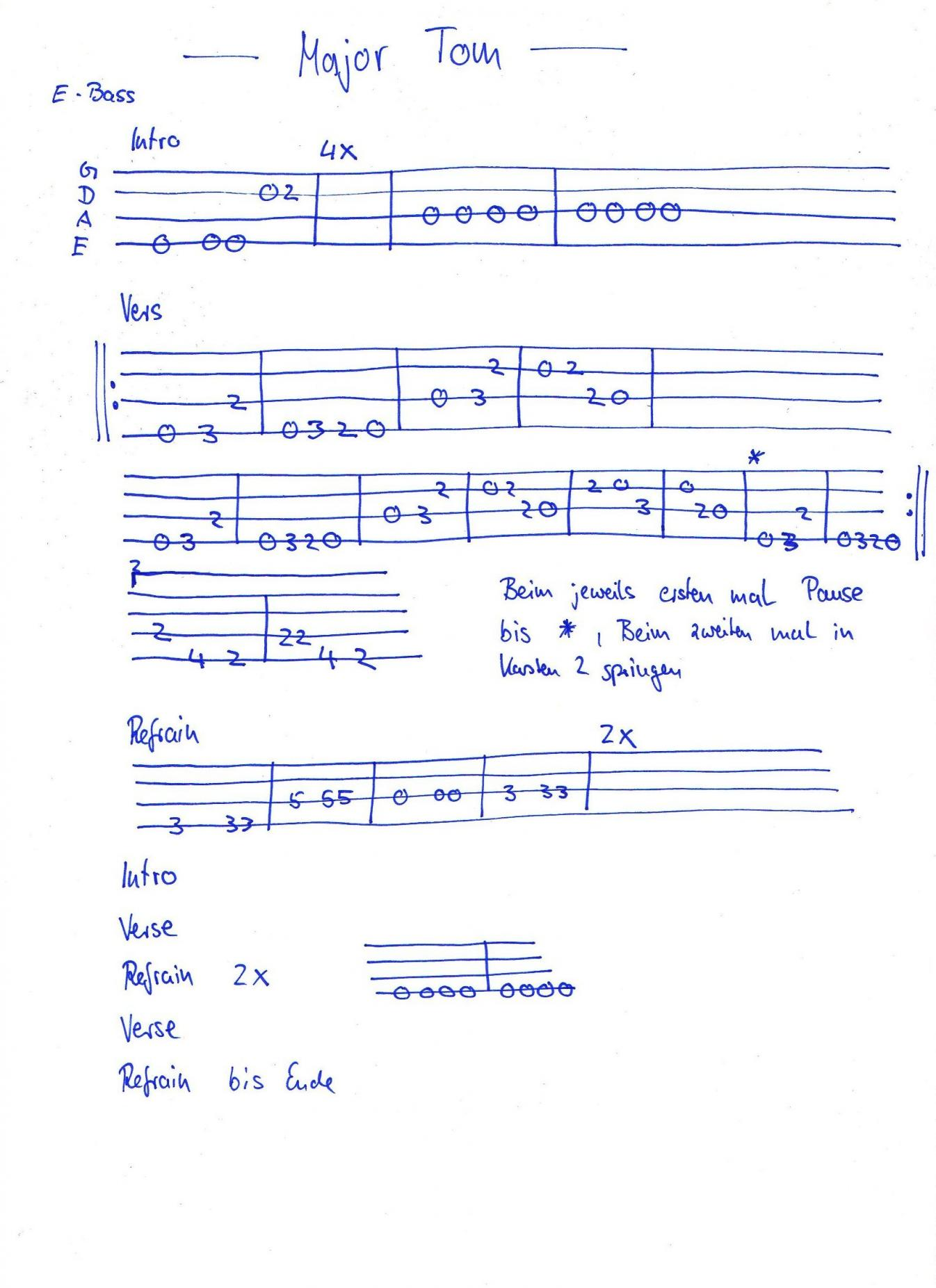 Basstab gesucht Peter Schilling   Major Tom   Musiker Board