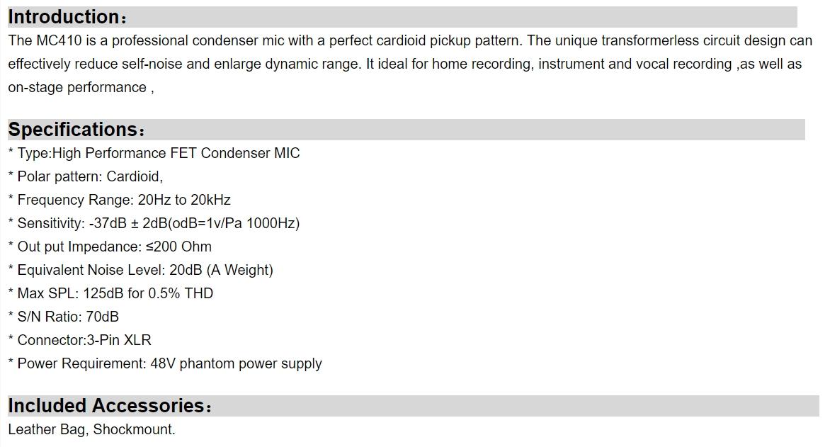 Alctron MC410 - Specs
