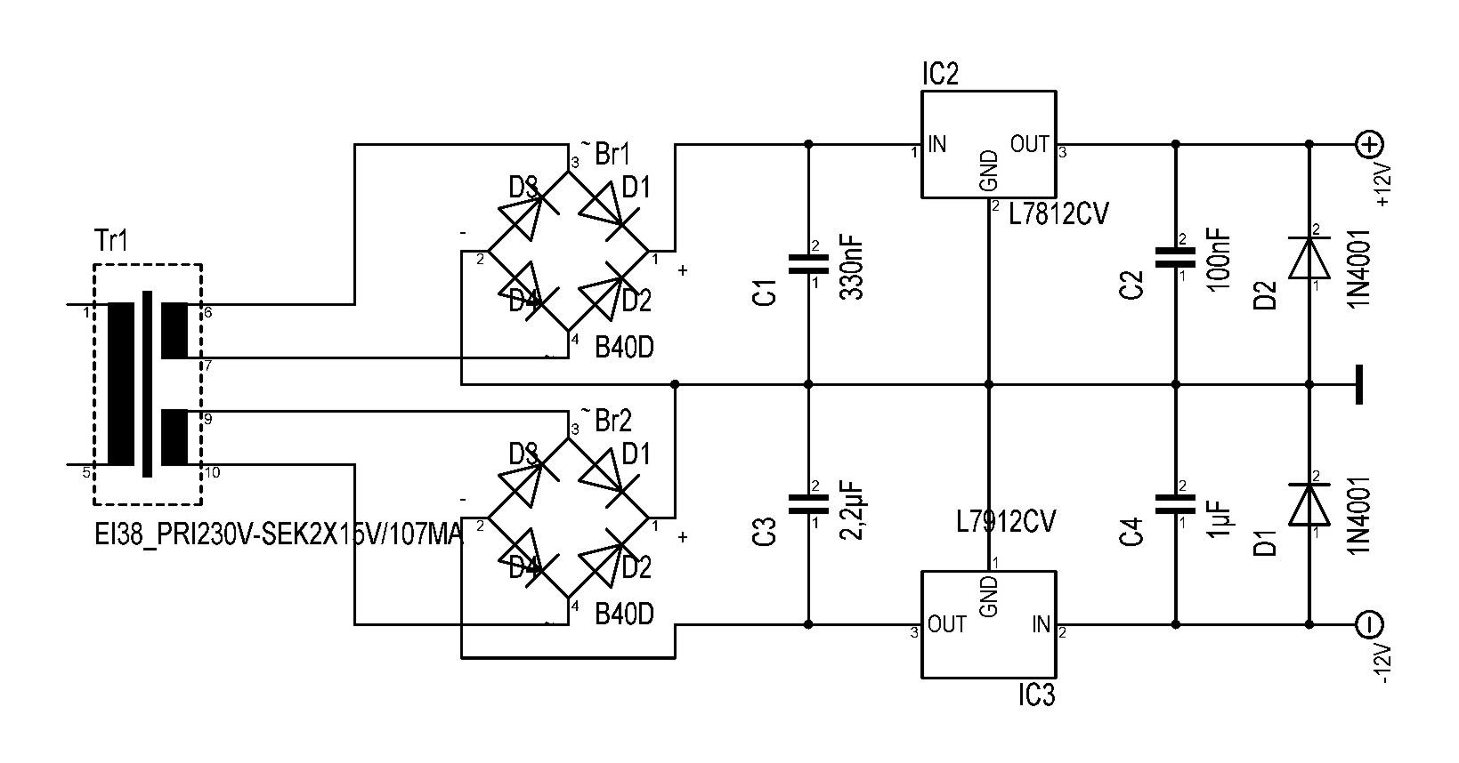 Symmetrisches Netzteildesign +-12V DC | Musiker-Board