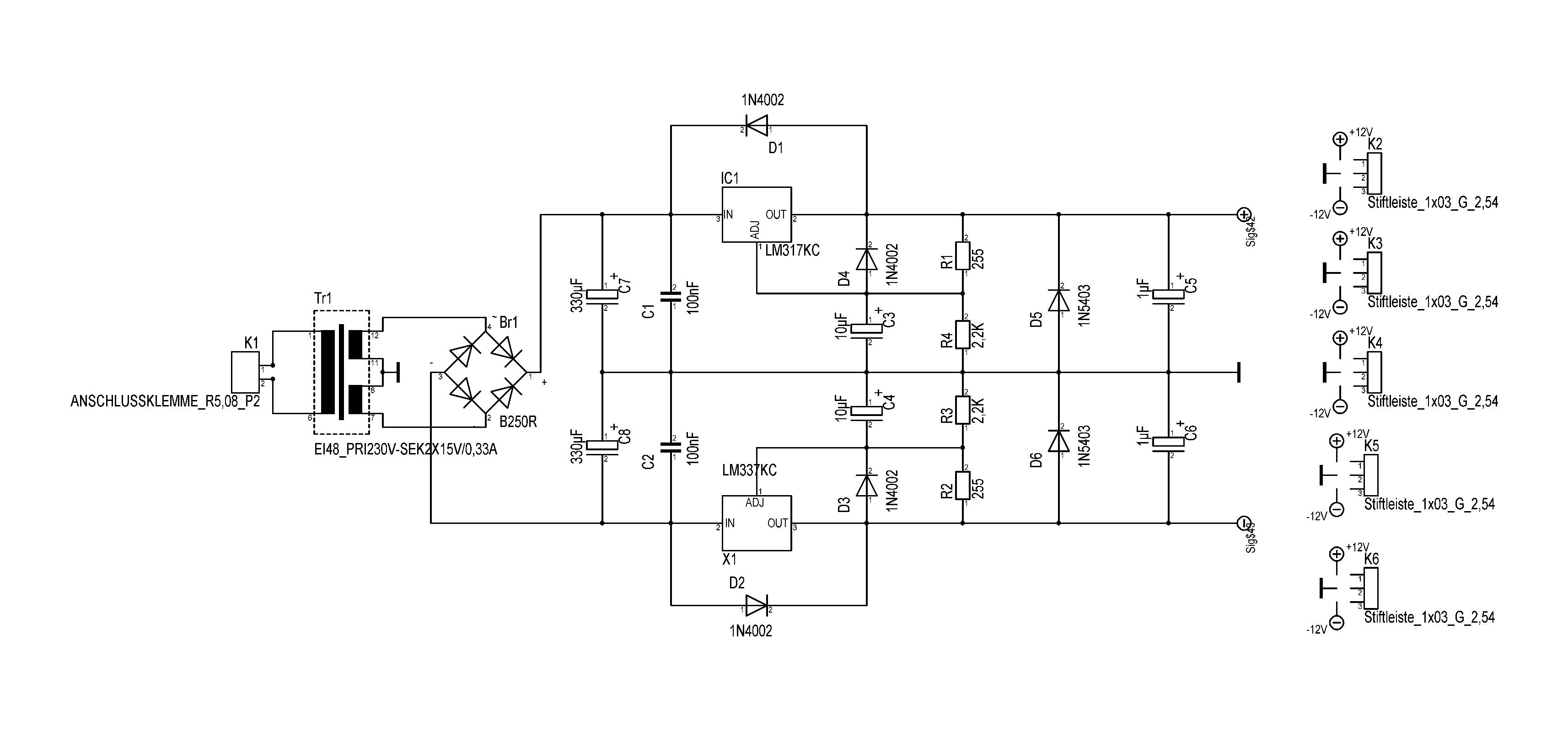 Symmetrisches Netzteildesign +-12V DC   Musiker-Board