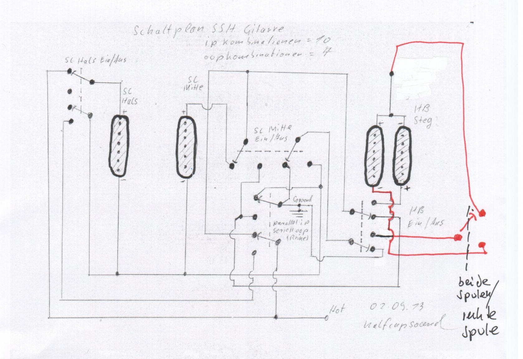 Erweiterung für Schaltung für HSS-Gitarre mit 3 Minischalter on-off ...