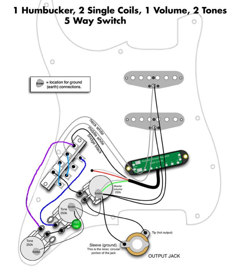 HSS-Strat, Humbucker an Tone-Poti und Mid/Neck zusammen an ein Tone ...