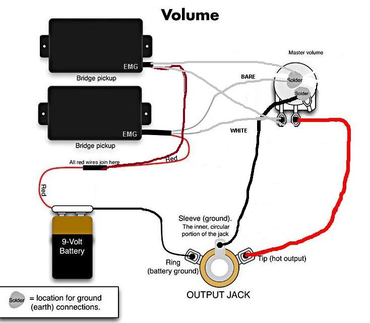 Schaltplan 2 Emg´s 1 Volume | Musiker-Board