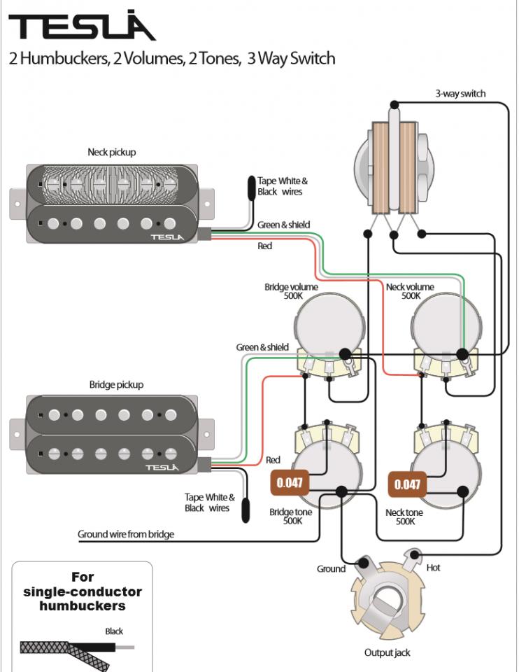 Schaltung mit zwei Humbucker Volumenreglung Hilfe! | Musiker-Board