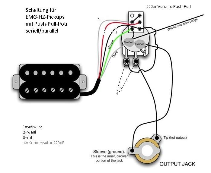 Verdrahtung von einem Humbucker mit nur einem Volumepoti | Musiker-Board